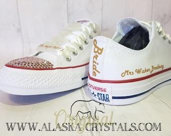 bdb8ebd57be2 Unisex Custom Wedding Converse With Swarovski Crystals