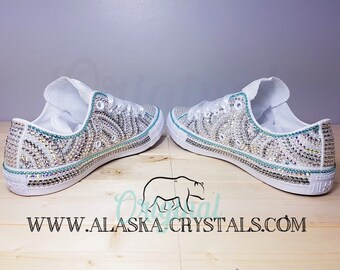f04df2d066f1 Luxury Custom Wedding Converse Covered In Swarovski Crystals
