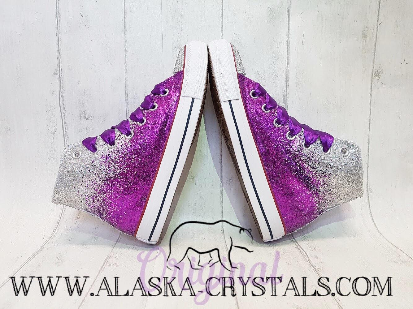 ce65edd7882a ... usa ombré purple and silver glitter high top converse 4c9ad 36815