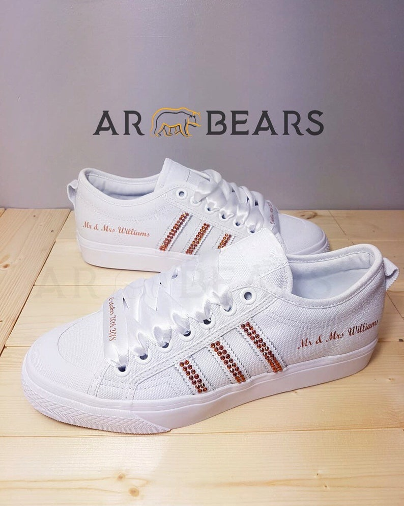 ed7ad9812402 Custom Adidas Nizza Low With Swarovski Crystals All White