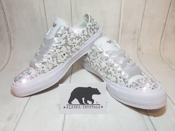 Luxury Custom Converse Fully Covered In Pearls And Swarovski  f91008fe43