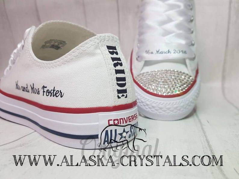 77cda6d3c3d5 Unisex Custom Wedding Converse With Swarovski Crystals