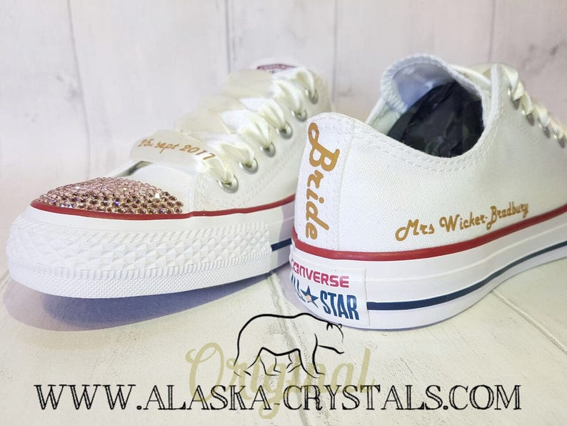 5183565f6aadd7 Unisex Custom Wedding Converse With Swarovski Crystals Bridal