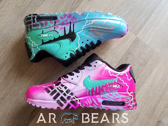 Custom Air Brushed Nikes Air Max, Urban Pink And Blue Neon Spray Paint, Custom Graffiti Shoes, Personalised Personalized Prom Sneakers