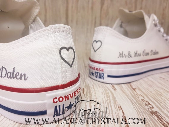 ee3a744502b9 Unisex Custom Wedding Converse With Swarovski Crystals Bridal