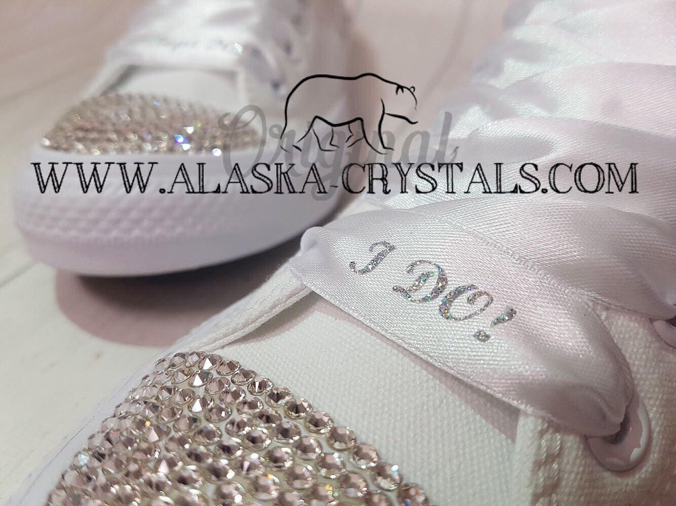 2ed927aee939fd Unisex Silver Glitter Custom Wedding Converse