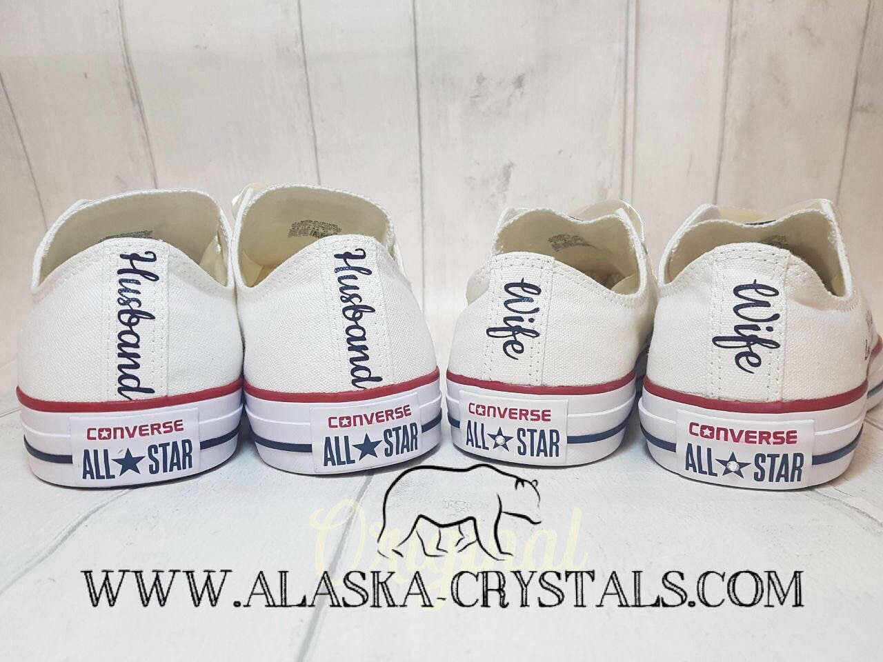 8a384171f7a827 Unisex Custom Wedding Converse Groom And Bride