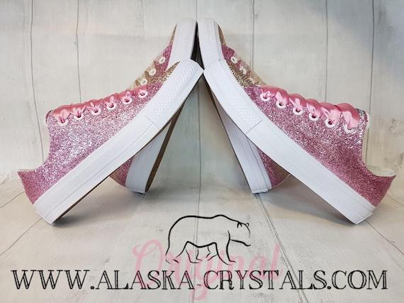 best sneakers cc1d7 22f4d Converse paillettes personnalisée avec avec avec des cristaux Swarovski,  baskets mariée scintillant or Rose, mariage rose apparteHommes ts, ...