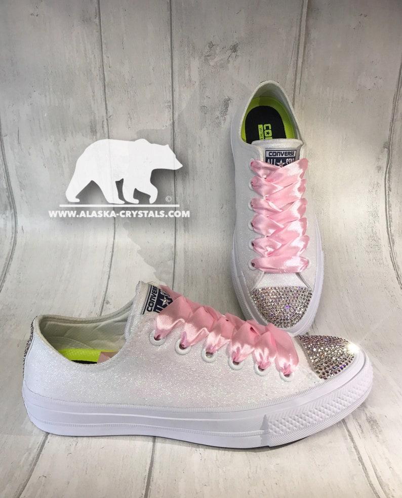 346b570876e690 Custom Glitter Converse With Swarovski Crystals Sparkly White