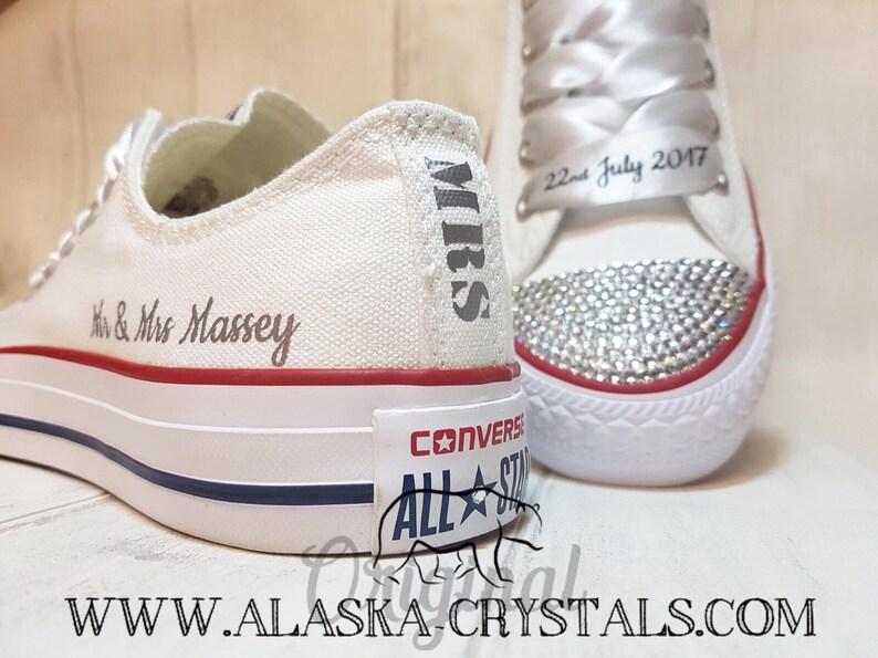 1a7b8a676a331a Unisex Custom Wedding Converse With Swarovski Crystals White