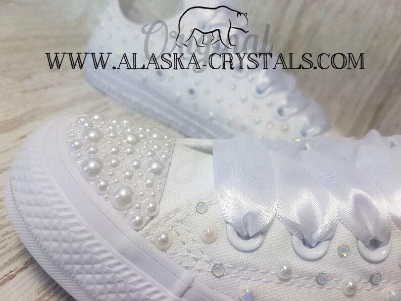 7ec0810095ba Luxury Custom Wedding Converse With Pearls And Swarovski