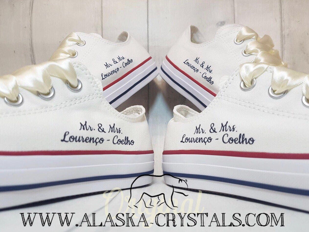 70bd7c6efcb3 Unisex Custom Wedding Converse Groom And Bride