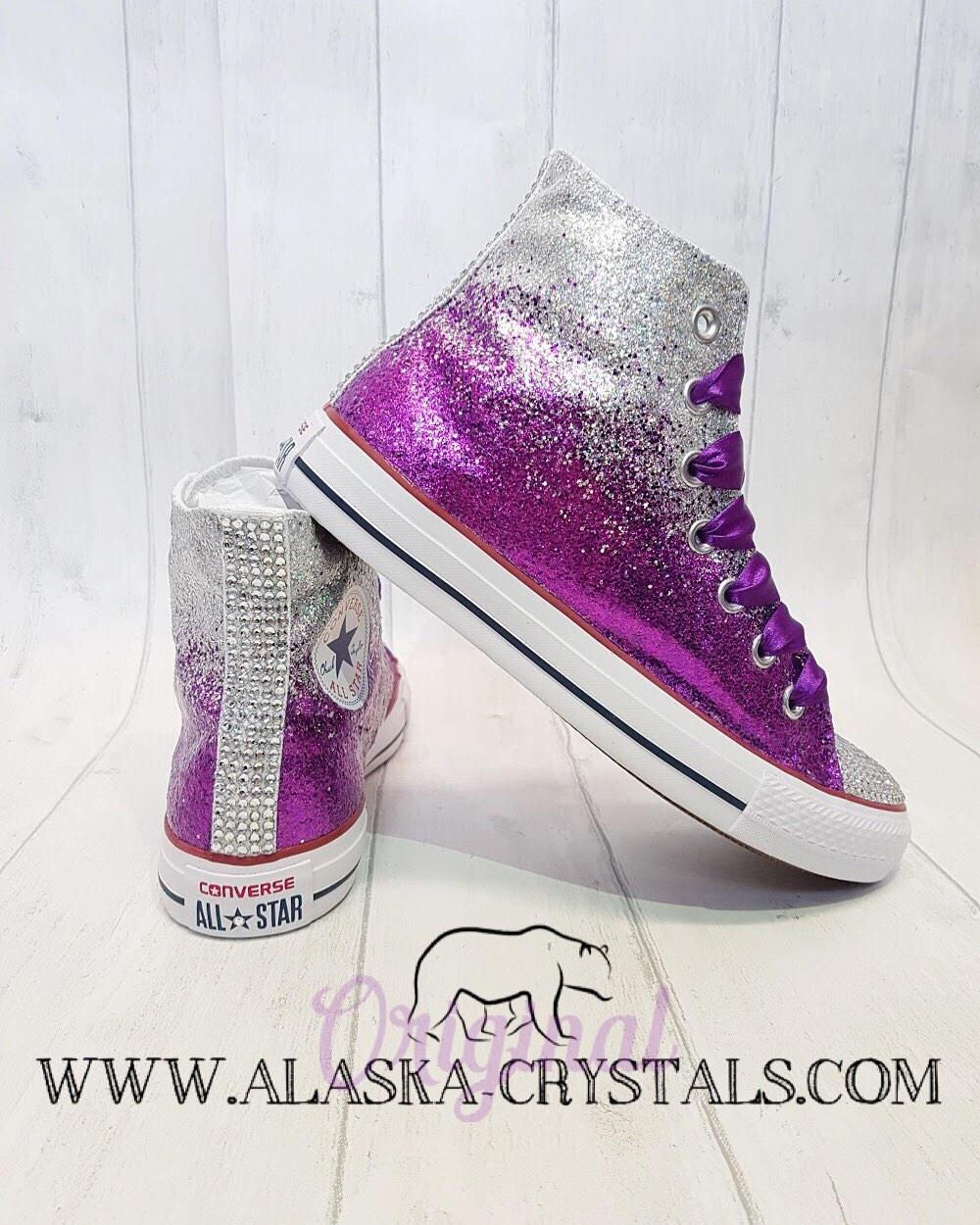 3e2da83b5fb6 sale really converse sparkly a32da 10661; usa ombré purple and silver glitter  high top converse 4c9ad 36815