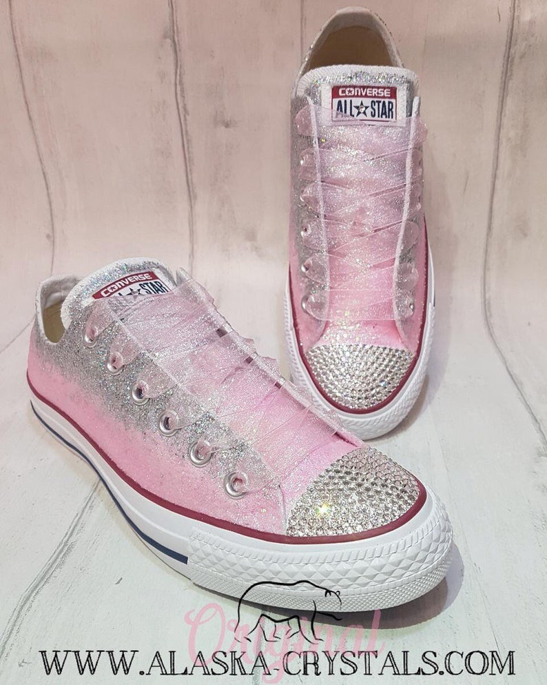 84d0f507032 Custom Glitter Ombré Wedding Converse With Swarovski Crystals