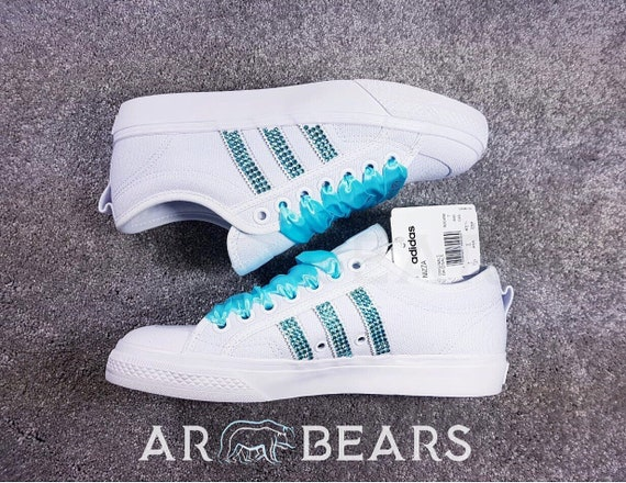 Custom Adidas Nizza Low With Swarovski Crystals, All White Wedding Trainers Sneakers, Bling Running Shoes, Personalised Personalized Shoes