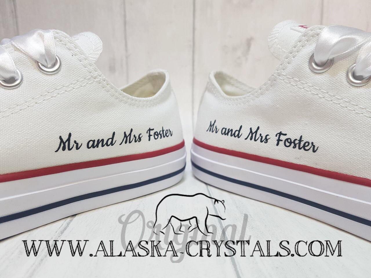 78f816330a0e Unisex Black And White Custom Wedding Converse