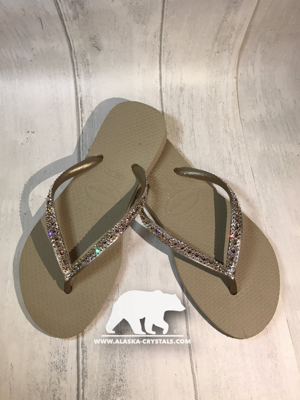 418cb20ba Custom Wedding Havainain Flip Flops with Swarovski crystals