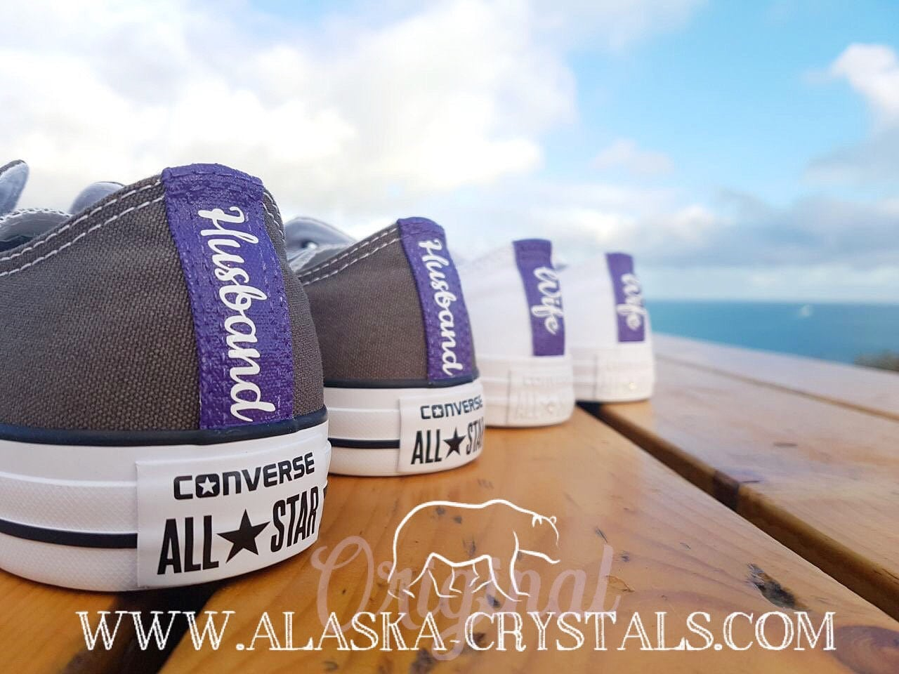 c4352c051c9e82 Unisex Custom Wedding Converse With Purple Coloured Heels