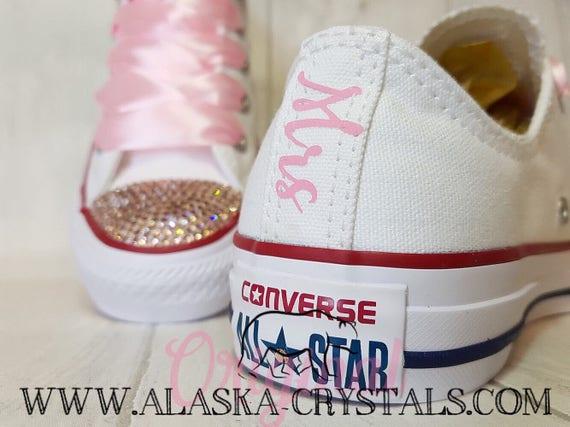 65e210231d38 Custom Shoes Converse Swarovski Bridal Sneakers Rhinestone