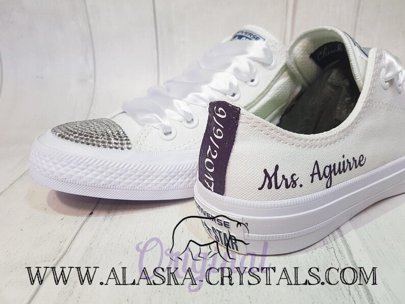 606a227b361e1 Unisex Custom Wedding Converse With Swarovski Crystals, Bridal Groom His  And Hers Sneakers, Personalised personalized, Purple Coloured Heels