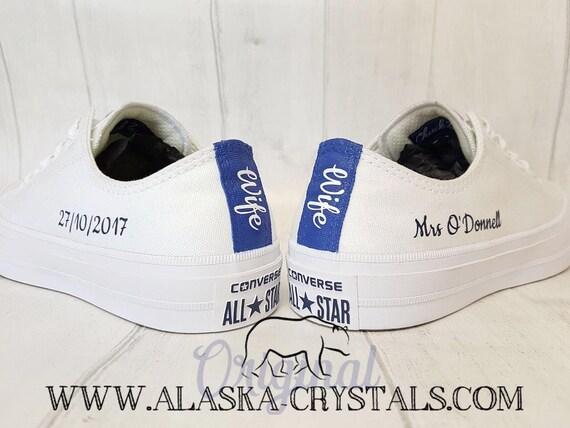4b62771724db Unisex Custom Wedding Converse With Swarovski Crystals Bride