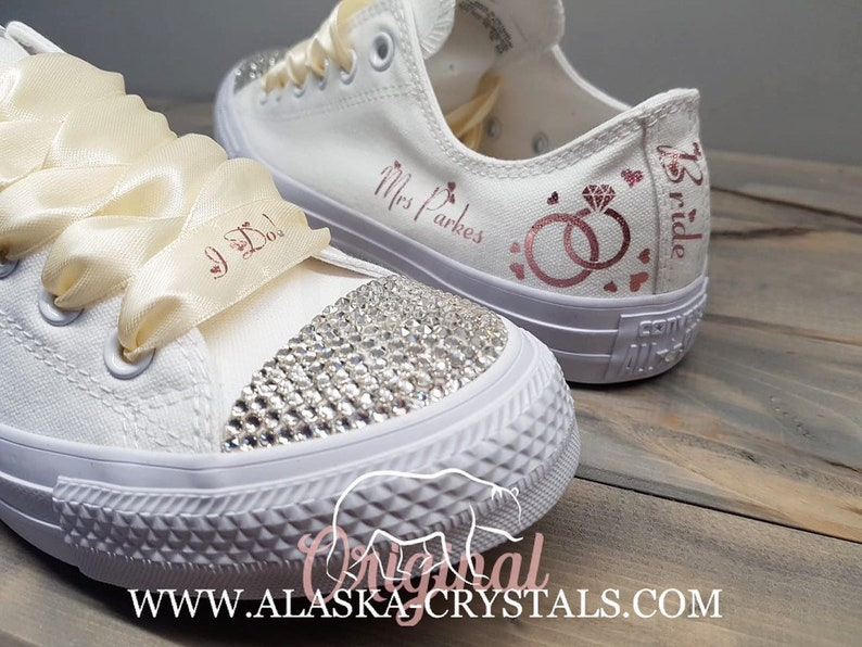 f293d462e1f1 Unisex Custom Wedding Converse With Swarovski Crystals White