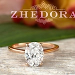 2.0 CT Forever One Oval Moissanite Engagement Ring, Oval Cut Engagement Ring, Thin Band Oval Ring, Rose Gold Oval Engagement Ring