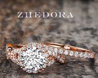 2.15 CT Round Cut Engagement Ring set Solid 14k/ 18k Rose Gold, Moissanite Wedding Set ,White Sapphire Bridal Set,  Forever One Bridal Set
