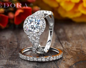 2.25 CT Round Cut Engagement Ring Set 14k/18k White Gold, Round Bridal Set , Moissanite Engagement Ring, Forever One Engagement Ring Zhedora