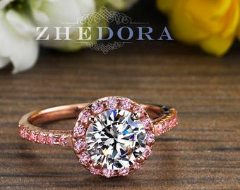 f6c8cbc36 2.50 CT Pink Engagement Ring in 14k/18k Rose Gold, Halo Engagement Ring,  White Sapphire Ring, Forever One Moissanite Engagement Ring Zhedora