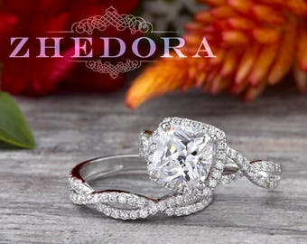 2.7 CT Radiant Cushion Cut Engagement Ring Bridal Set in Solid 14k/ 18k White Gold Bridal, Wedding Set, MoissanIte Cushion Cut Set, Zhedora
