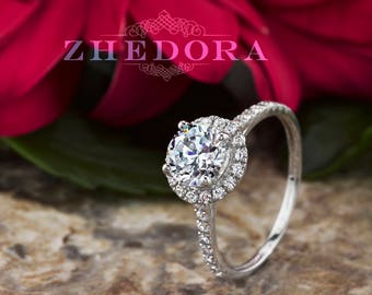 Halo Engagement Ring Round Cut Solid 14k/18k White Gold with Simulated Diamonds, Moissanite Halo Engagement Ring by Zhedora