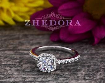 Cushion Cut Engagement Ring 1.15CT in Solid 14k/18k White Gold, Moissanite Cushion Cut Engagement Ring , Simulated Diamond Cushion Cut Ring