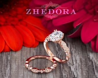 Oval Bridal Set in 14k/18k Rose Gold , Oval Cut Engagement Ring Set ,Rose Gold Oval Wedding Set, Moissanite Oval Bridal Set, Moissanite Ring