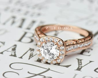 Engraved Engagement Ring Etsy