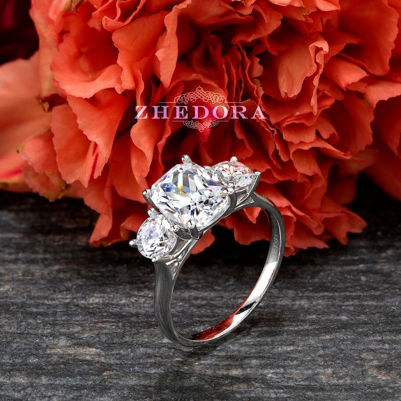 Elongated Cushion Cut Engagement Ring Solid 14k/18k White image 0