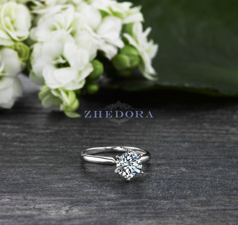 Forever One 1.5 CT Round Solitaire Engagement Ring Solid image 0