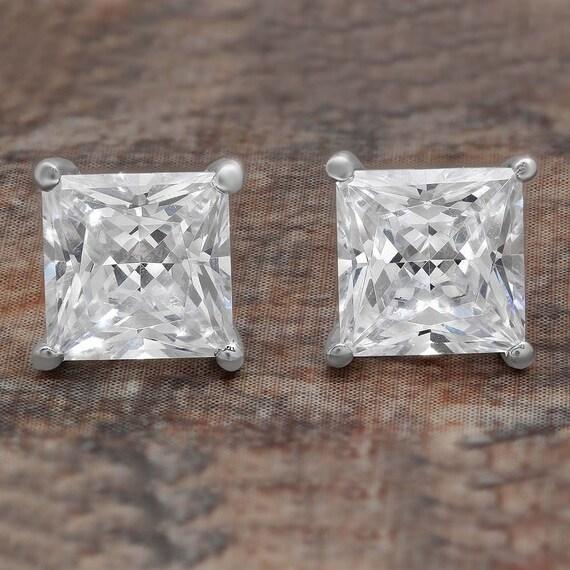 4 Ct Princess Cut Diamond Earrings in Solid 14k White Gold Screw Back Studs