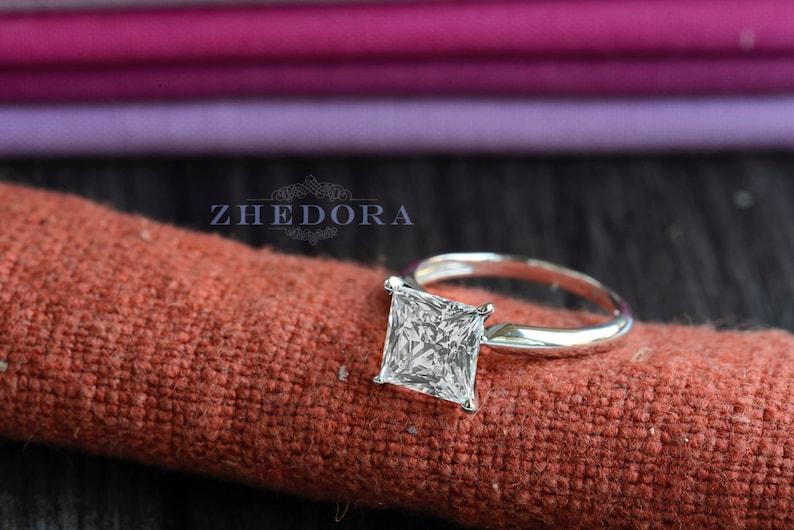 White Sapphire Solitaire 2.10 CT White Sapphire Princess Engagement Ring In 14k 18k White Gold Moissanite Platnium Engagement Ring