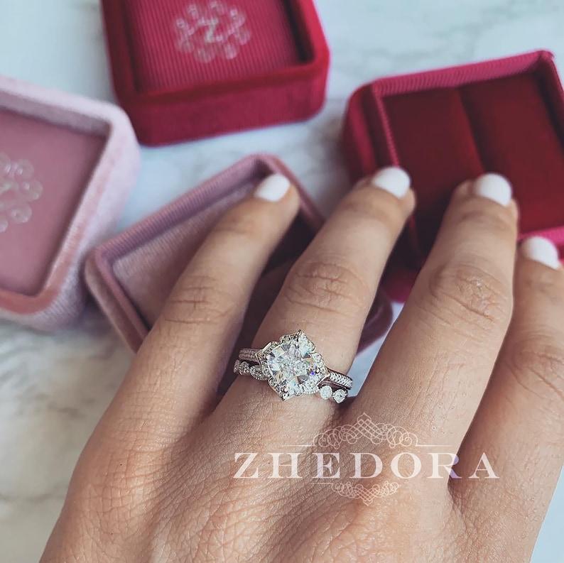 Vintage Cushion Cut Engagement Ring Set 14K/18k White Gold image 0