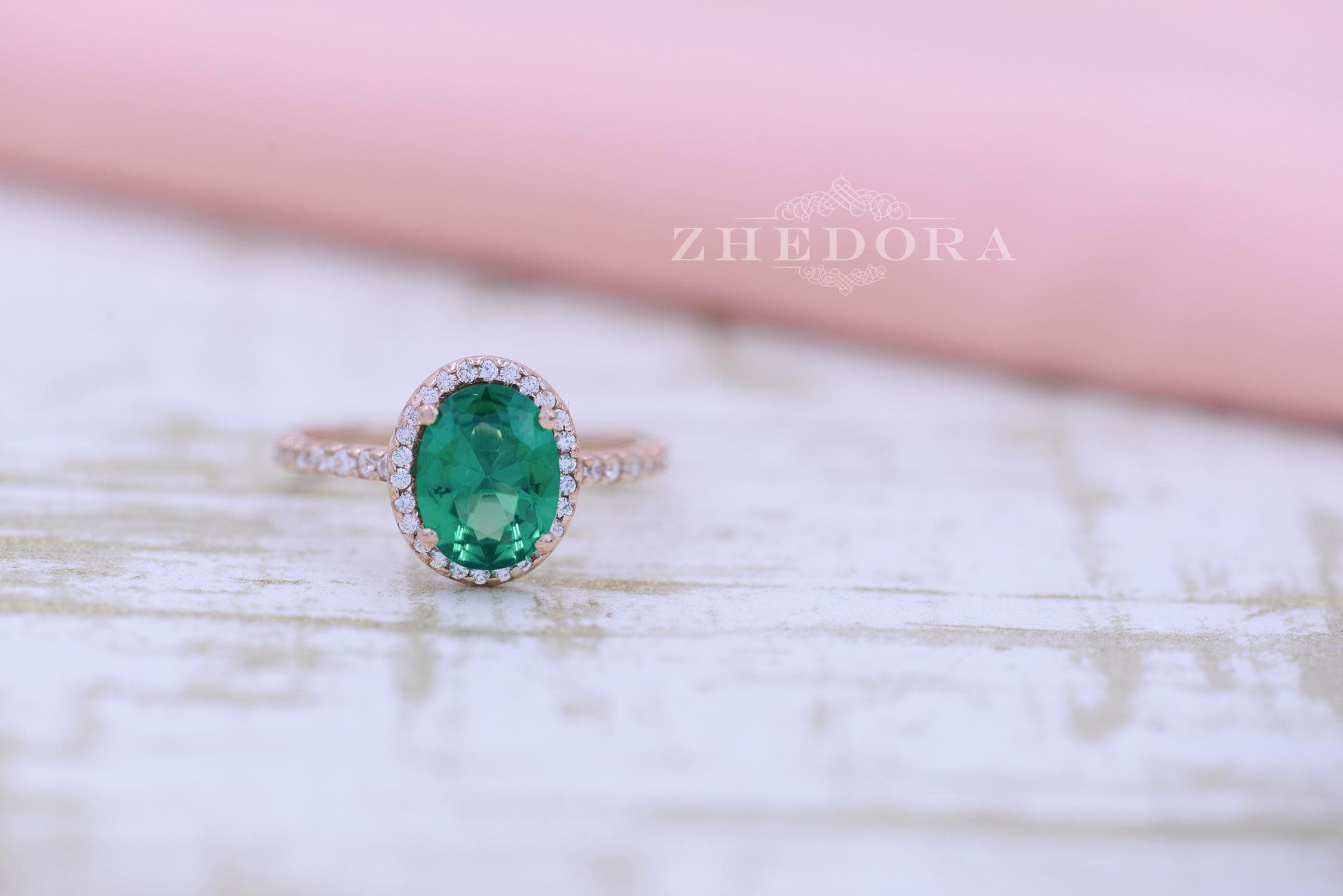 Emerald Engagement Ring in 14k or 18k Rose Gold Oval