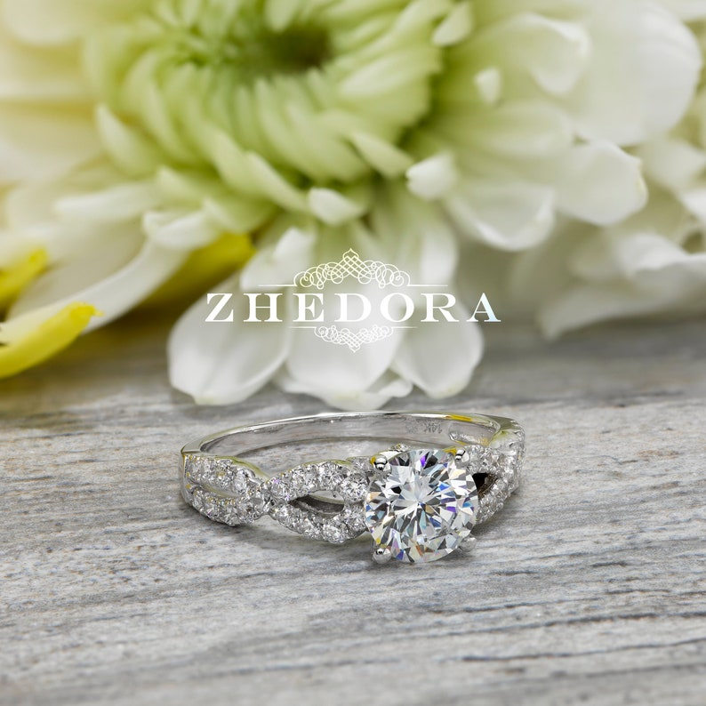 Fine Rings Certified 1.45 Ct White Round Cut Bridal Wedding Engagement Ring 14k White Gold Engagement & Wedding