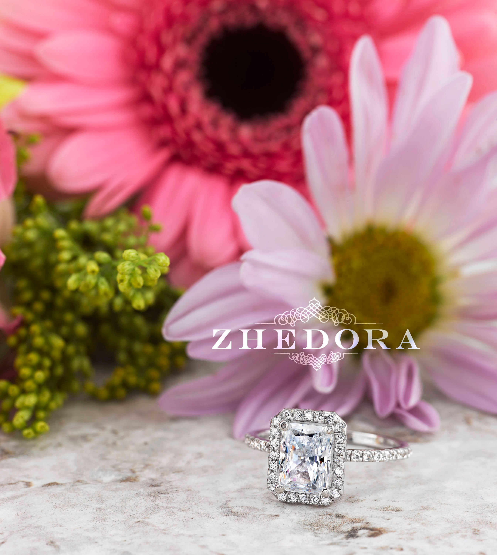 Moissanite Radiant Cut Engagement Ring in 14k/18k White Gold   Etsy