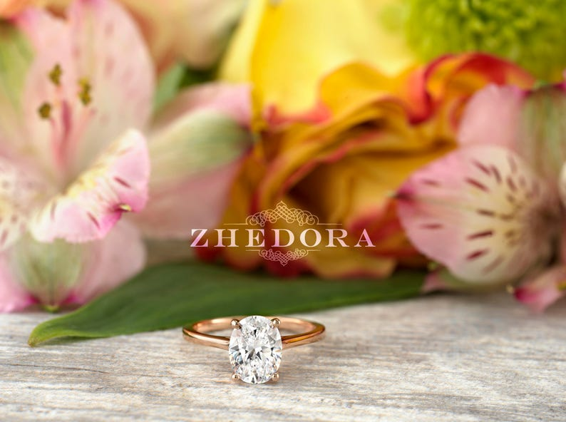 2.0 CT Forever One Oval Moissanite Engagement Ring Oval Cut image 0