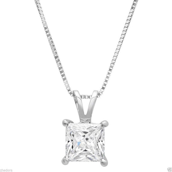 """2.0Ct Round Cut 14K Yellow Gold 3-prong Pendant Necklace Box With 18/"""" Chain"""