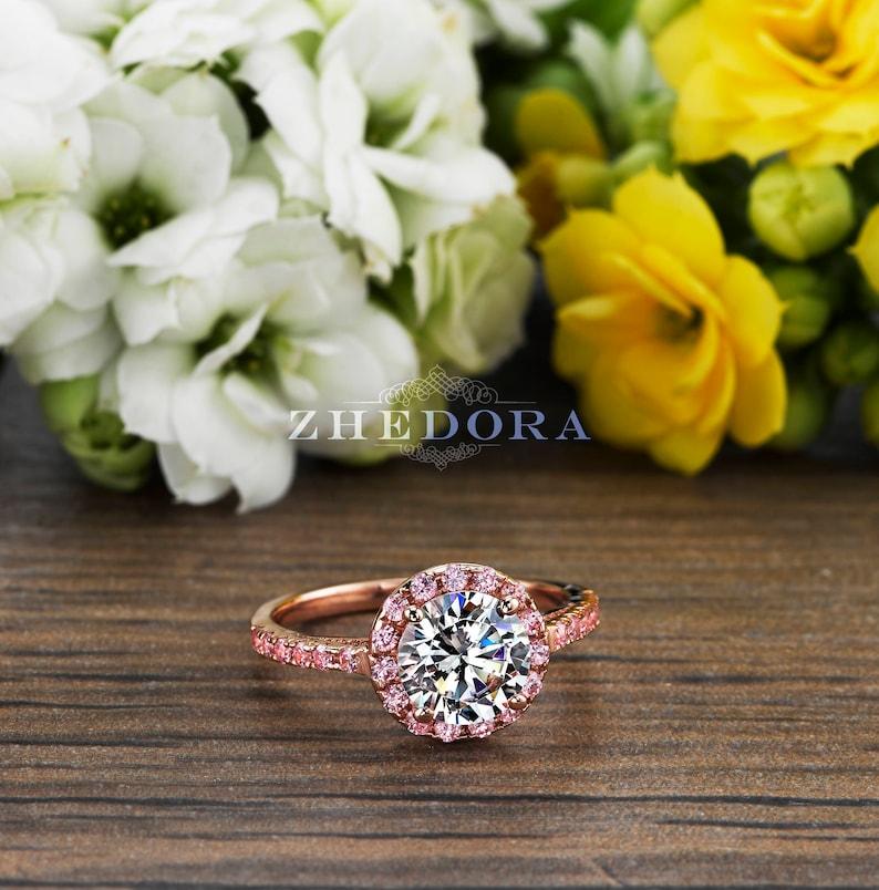 2.50 CT Pink Engagement Ring in 14k/18k Rose Gold Halo image 0