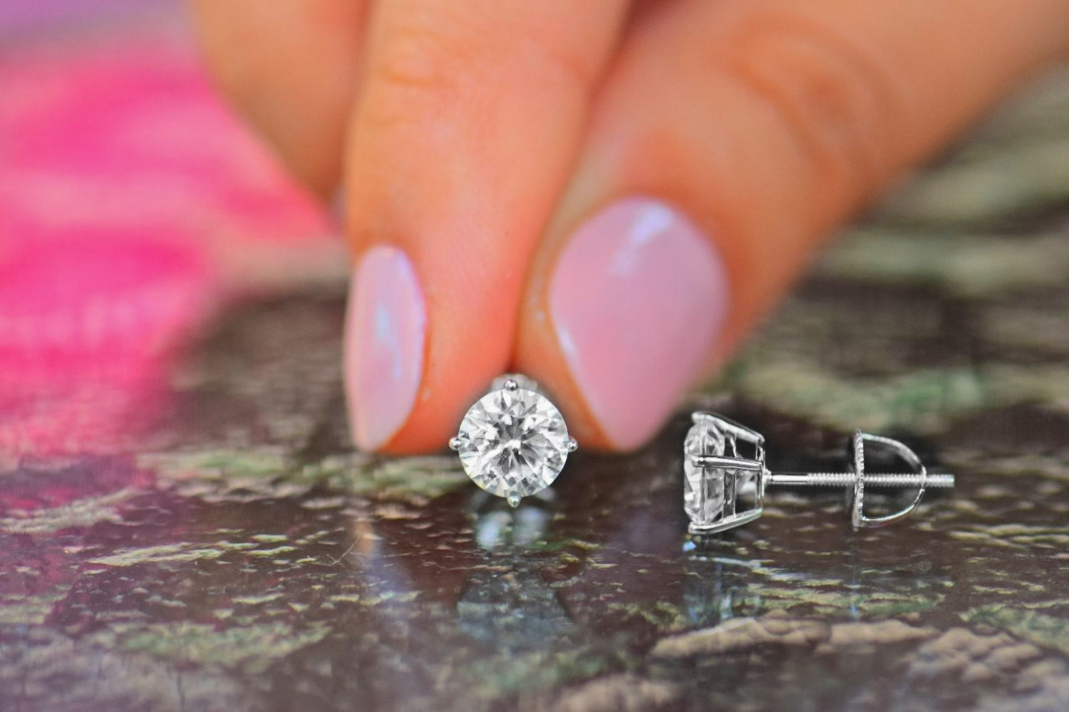 f08e2aebf 0.5 Ct Round Stud Earring Solid 14K White Gold Moissanite   Etsy