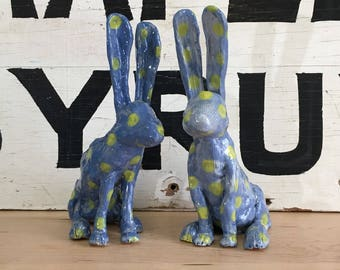Darker Blue Hare with Yellow Polka Dots | Rabbit | Figurine