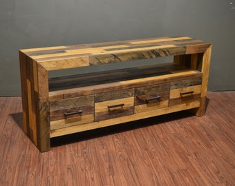 Rustic Solid Wood 72 Inches Tv Stand Media Console Console Etsy