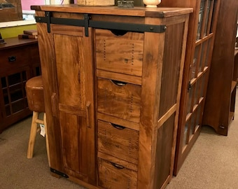Outstanding Quality Rustic Solid Wood Chest Of Drawers Highboy Dresser With Four And One Barn Door